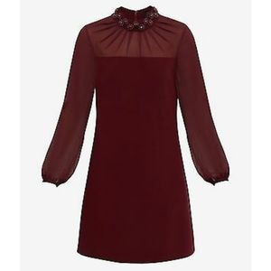 Ted Baker Cranberry Cacey Beaded Neck Dress